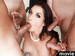 Hot brunette MILF sucks 4 big hard cocks and gets a facial!